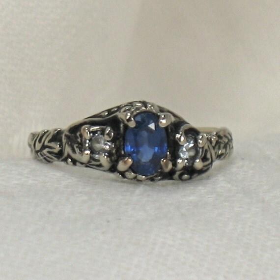 Blue and White Sapphires, Grapevine 3 stone ring, 14k white gold