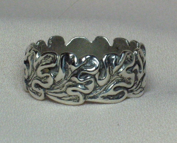Wide Oak leaves ring, no rim Solid Sterling silver,  9 3/4