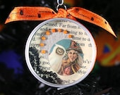 Halloween ornament - Victorian snowy owl and witch - small