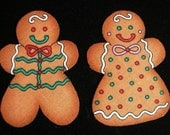 GINGERBREAD BOY GIRL Cookies Icing 24 Fabric Appliques Scrapbooking Cards Christmas
