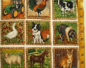 FARM ANIMALS Fabric Squares Appliques Horse Pig Cow Dog Cat Tractor Makower UK