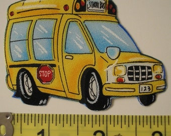SCHOOL BUS Fabric Appliques Driver Yellow Iron on 20 Pc Timeless Treasures