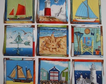 BEACH COASTAL Rare Fabric Squares Sailboat Lighthouse 9 Iron On Appliques Cards Scrapbooking Makower UK