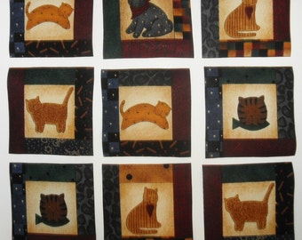 Debbie Mumm CATS Fabric Appliques 20 Iron On Squares Rare Last Set
