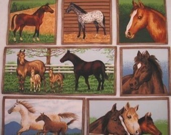 Horses Makower UK Fabric 12 Appliques Iron On RARE Out of Print