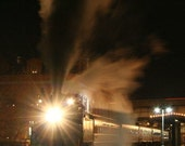 Night Train (Steam engine leaving the station) - 8x10 matted print (11 x 14 mat)