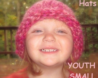 Hearty Homestead Hat - thick handknit hats with stylish rolled brim -  YOUTH SMALL