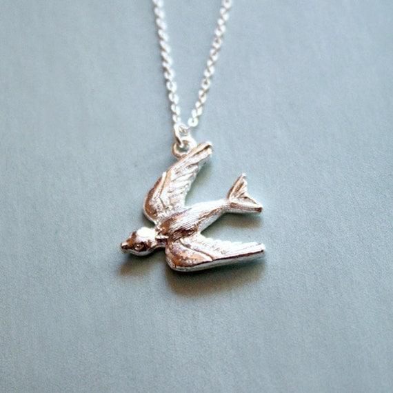 Soaring Swallow necklace, bird charm, silver bird, long silver necklace, bird pendant