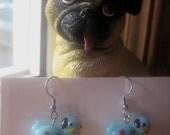 Whimsical Glass Pug Rescue Earrings