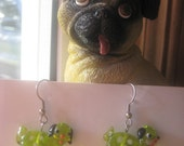 Whimsical Glass Pug Rescue Earrings in LIME