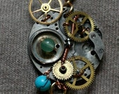 Cogs, Gears, and Watch Bits ChronoEntropy Necklace, Pendant, Steampunk