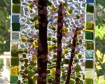 Redbud Abstract Fused Glass Mosaic Window Piece