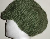 Intro Sale - Evening Green hand knit newsboy hat, Merino wool