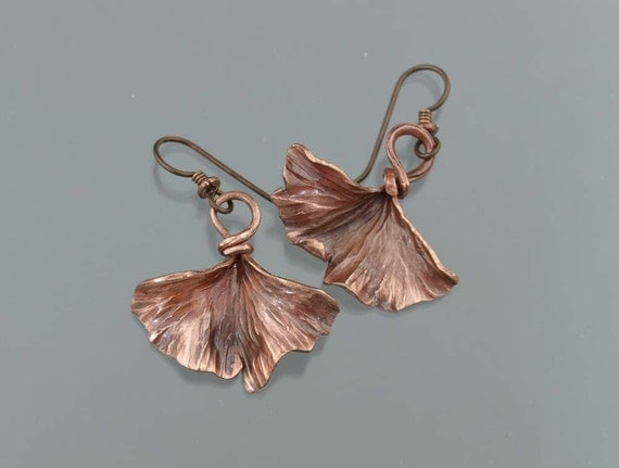 Copper Ginkgo Leaf Earrings - made to order
