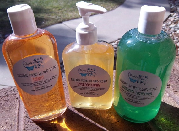 Natural Liquid Soap- Vegan- Made from Scratch - 8 ounces - You choose scent