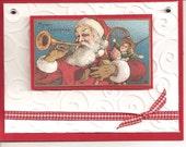 Vintage Postcard Handmade Santa Christmas Greeting Card