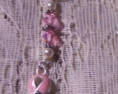Breast Cancer Survivor Ribbon Cell Phone Lariat Charm Holder