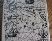 Map with sailing ship - rubber stamp