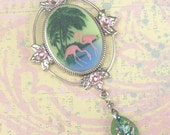 Pink Flamingo and Palm Tree Cameo Brooch with Beach Glass Dangle
