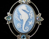 Cameo Brooch or Pendant Seahorse with Crystal Accents