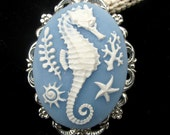 Cameo Brooch Pin or Pendant Seahorse and Sealife Blue and White