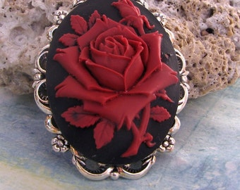 Cameo Brooch or Pendant Red Rose on Black