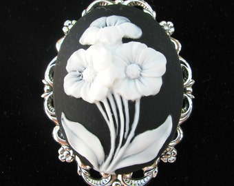 Black with White Flowers Cameo Brooch or Pendant