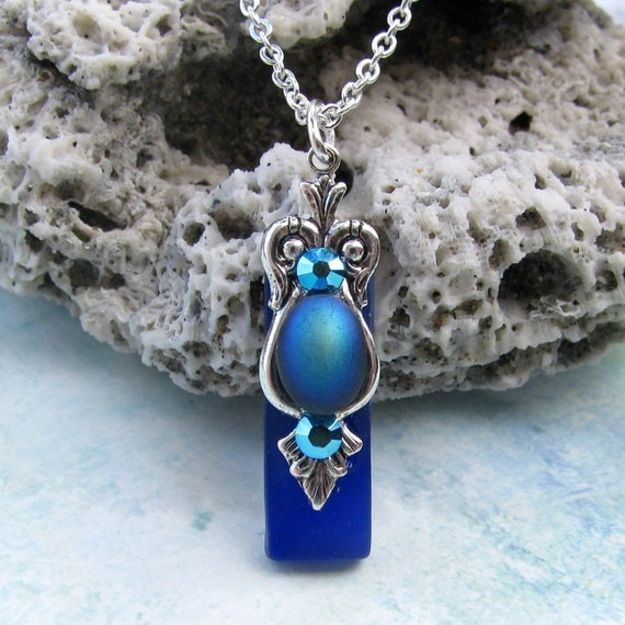 Vibrant Blue Stained Glass Necklace