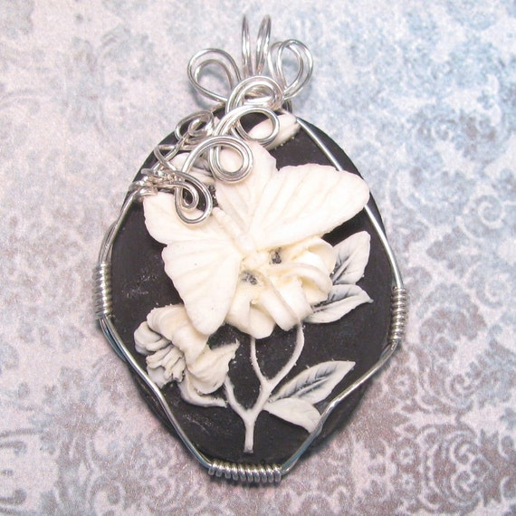Butterfly Cameo Pendant Wire Wrapped in Sterling Silver