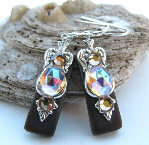 Espresso Stained Glass Earrings