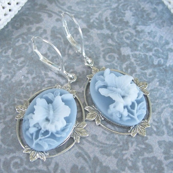 Cameo Earrings Blue and White Butterfly Leverbacks