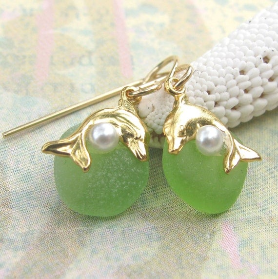 Beach Glass Dolphin Earrings with Pearl Accents