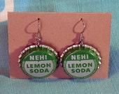 Nehi Lemon Soda Bottlecap Earrings RESERVED FOR CINDYART98