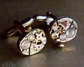 Steampunk Cufflinks Petite BULOVA Watch Movements-  Silver Watch VIntage Cuff Links Pair - Wedding Anniversary Valentines Mens Gift
