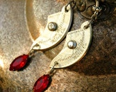 Steampunk Earrings- 1800s Waltham Pocket Watch Crescent Moon - RARE Victorian Watch with Red Swarovski- SEDUCTIVE ELEGANCE