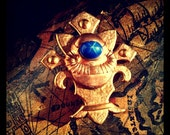 DeepSea Diver Steampunk Brooch Pin- Vintage Copper Diver Insignia w Star Sapphire Glass on Fleur De Lis- Unisex FANTASTIC VOYAGE