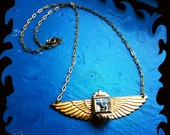 HELIOS Sun Steampunk Necklace - Vintage Watch Gold Face Arch Angel Brass Wings Pendant -  Celebrate Spring Equinox Solar