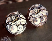 KRONOS Vintage 1930s Watch Movement Cufflinks by 19 Moons LARGE - UNIQUE - INDUSTRIAL - ECO FRIENDLY