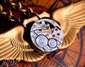 AERODYNE II Steampunk Clockwork Necklace by 19 Moons Ruby Jewels Unisex WWII VINTAGE WINGS ECO FRIENDLY BEAUTY