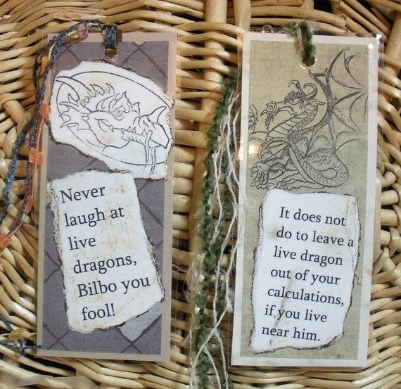 Hobbits and dragons bookmark set