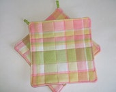Pink and Green Quilted Potholders