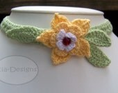 Yellow Starflower Crochet Necklace