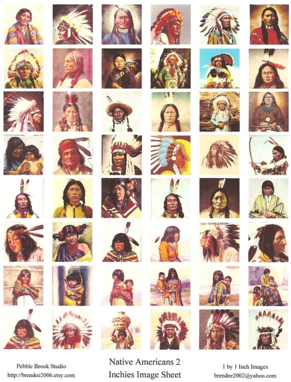 Inchies--Native Americans 2--48 one by one inch images--printed image sheet