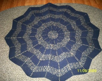 BAYPRINT WINDSOR BLUE Circular Afghan/blanket/throw