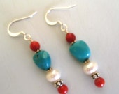 Coral pearl and turquoise earrings