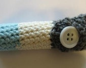 Grey Teal and White LipBalm Cozy