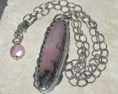 Peruvian pink opal & sterling silver necklace