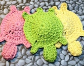 All Three Turtle Face Scrubbies or Small Dishcloths - Crochet