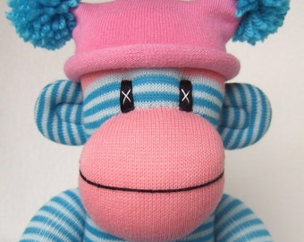 Pink and Turquoise blue Pin Striped Sock Monkey (Made to Order)