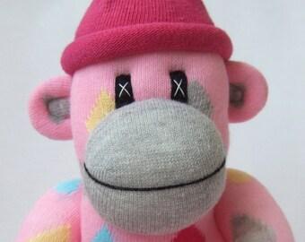 Pink Love Heart Sock Monkey